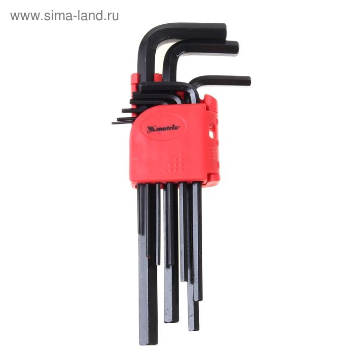 Ключи имбусовые HEX 1,5–10 мм MATRIX, CrV, удлиненные, 9 шт.
