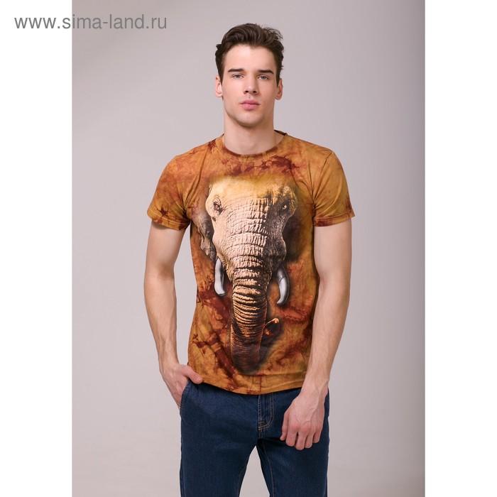 Футболка мужская Collorista 3D Elephant, размер S (44), цвет коричневый