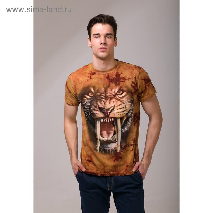 Футболка мужская Collorista 3D Wild tiger, размер XL (50), цвет коричневый