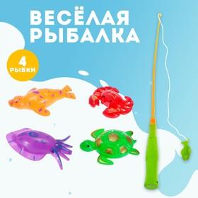 Игра «Весёлая рыбалка»: удочка, 4 рыбки
