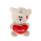 """Мягкая игрушка-подвеска """"Мишка с сердцем"""", на щеке сердечки"""