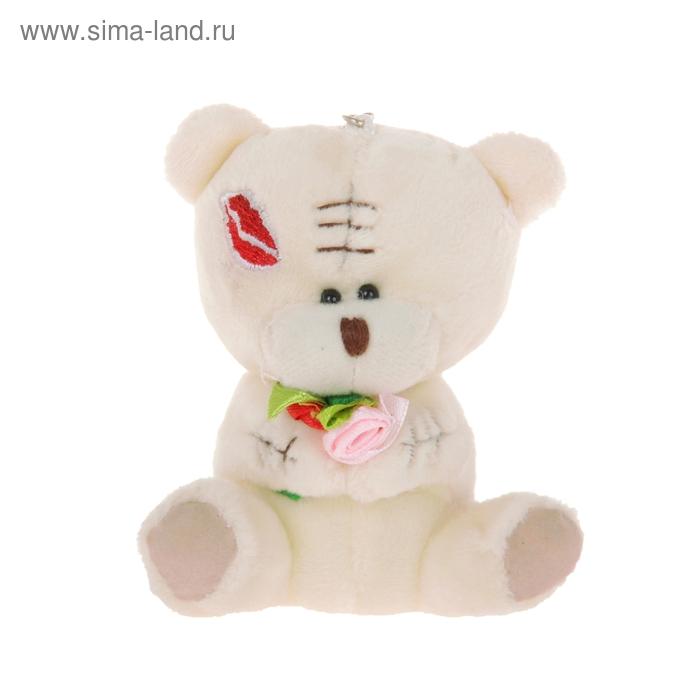 """Мягкая игрушка-подвеска """"Мишка с букетом"""", на щеке поцелуй"""