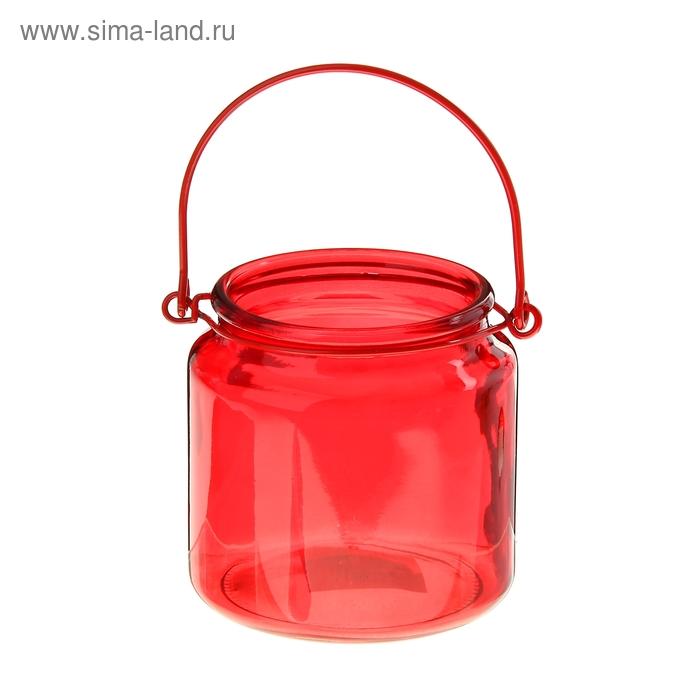 """Банка для сыпучих продуктов 480 мл """"Калейдоскоп"""" с подвесом, красная"""