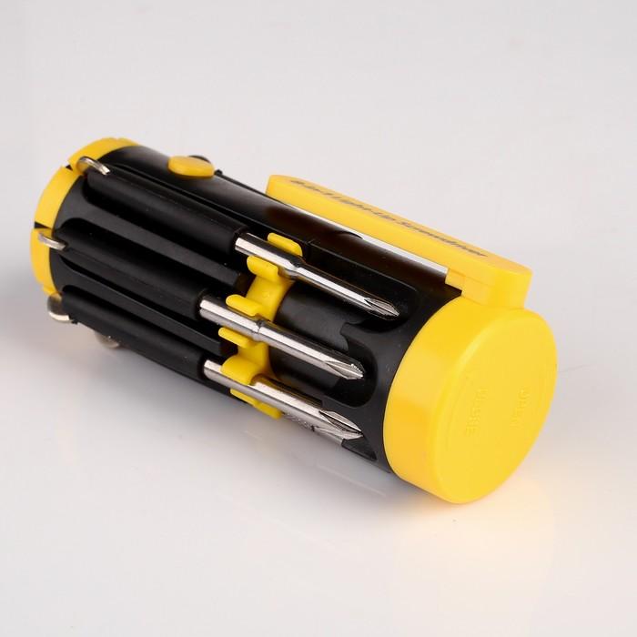 Фонарик 8 в 1 многофункциональный: 6 диодов, 7 отвёрток, чёрный, зажим жёлтый