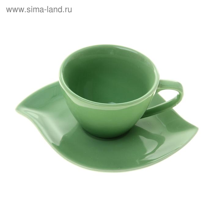 """Набор чайный """"Лотос"""", 2 предмета: чашка 200 мл, блюдце, зеленый"""
