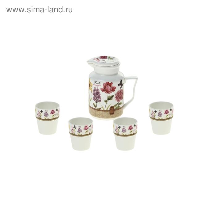 """Набор питьевой """"Цветочное трио"""", 5 предметов: 4 стакана 250 мл, кувшин 1 л"""