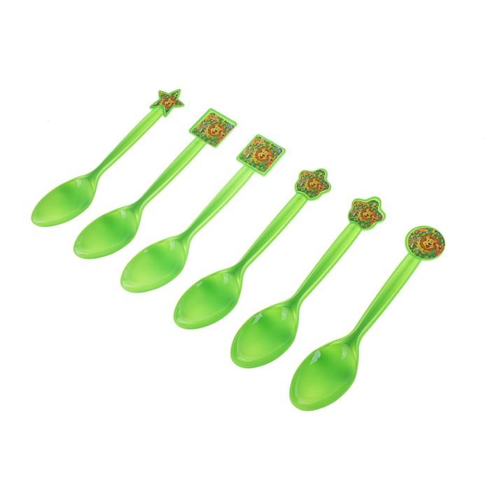"""Набор пластиковых ложек """"Звери"""", (набор 6 шт), цвет зеленый"""