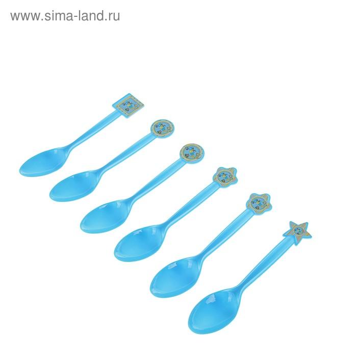 """Набор пластиковых ложек """"Бэби"""", (набор 6 шт), цвет голубой"""