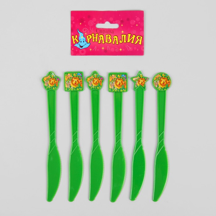 """Набор пластиковых ножей """"Звери"""", (набор 6 шт), цвет зеленый"""