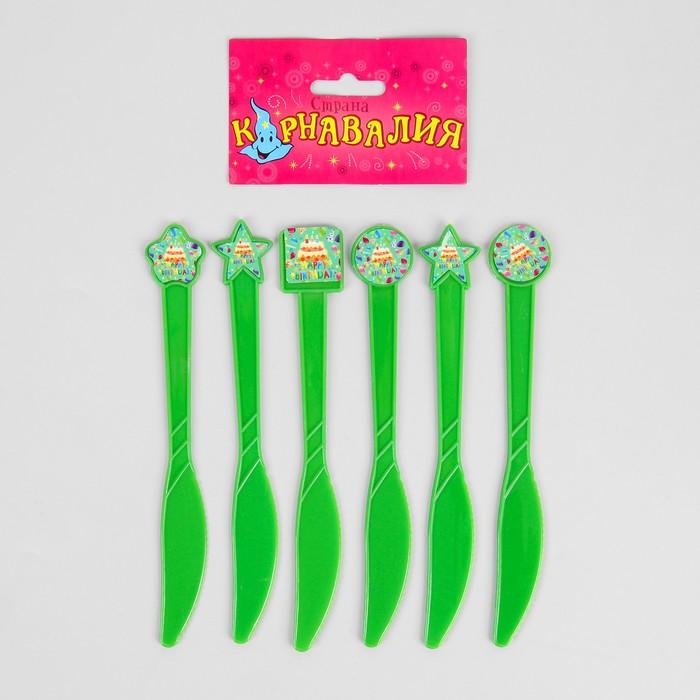 """Набор пластиковых ножей """"Тортики"""", (набор 6 шт), цвет зеленый"""