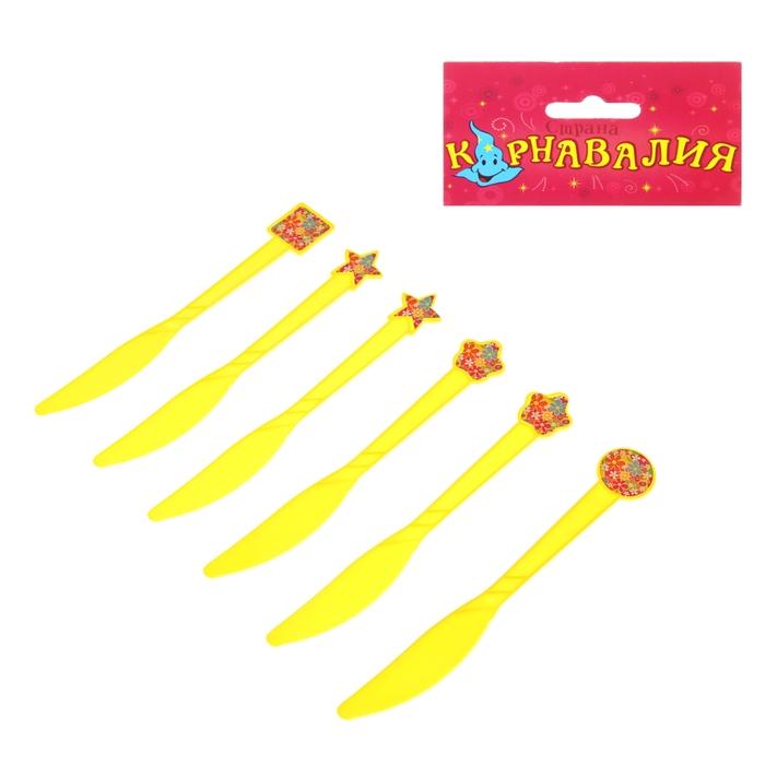 """Набор пластиковых ножей """"Цветочки"""", (набор 6 шт), цвет желтый"""