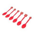 """Пластиковые ложки """"Сердечки"""", набор 6 шт., цвет красный"""
