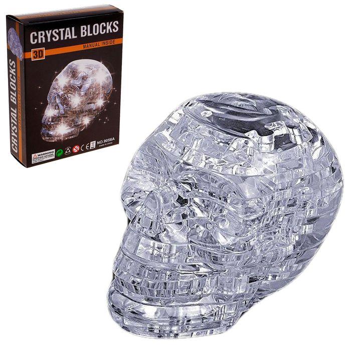 """3D пазл кристаллический """"Череп, 49 деталей, световые эффекты, работает от батареек"""