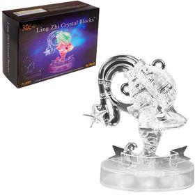 Пазл 3D кристаллический, «Знак зодиака Водолей», 34 детали, световые эффекты, работает от батареек