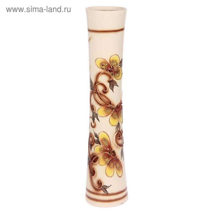 """Ваза напольная """"Виола"""" цветы, глазурь, бело-коричневая"""