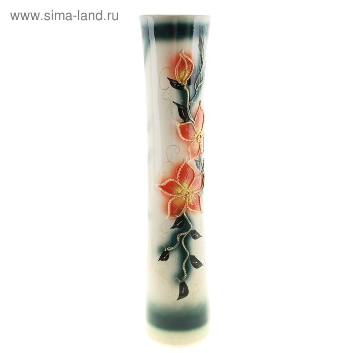 "Ваза напольная ""Виола"" цветы, глазурь, бело-зелёная"
