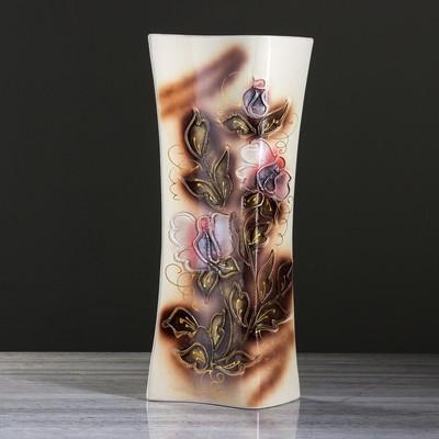 """Ваза напольная """"Книга"""" цветы, глазурь, коричневая"""