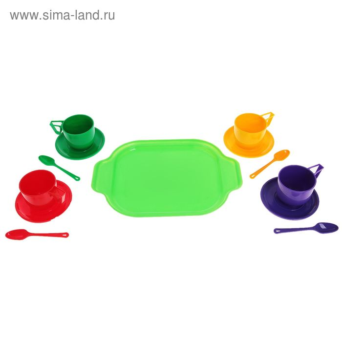 Набор посуды с разносом, 13 предметов, МИКС