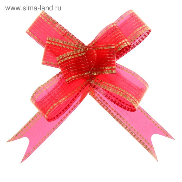 """Бант-бабочка №1,8 """"Золото"""", цвет красный"""