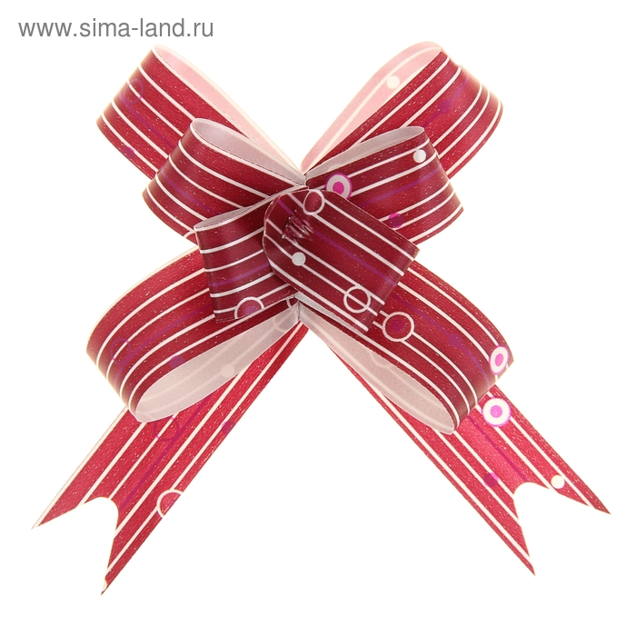 "Бант-бабочка №1,8 ""Капли дождя"", цвет бордовый"