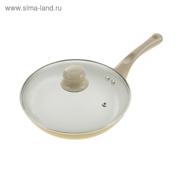 Сковорода литая 24 см Diamond с керамическим покрытием и крышкой, бежевая