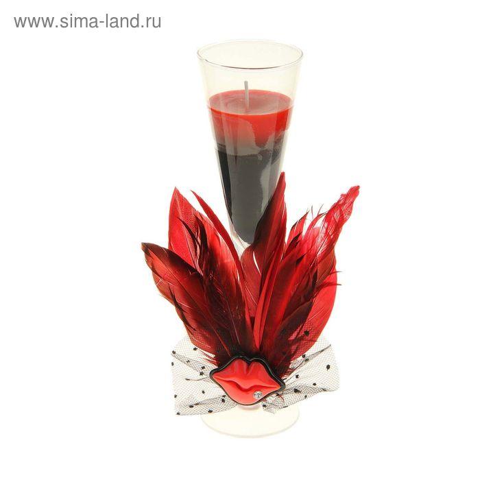 """Свеча восковая """"Страстный поцелуй"""", цвет красно-черный"""
