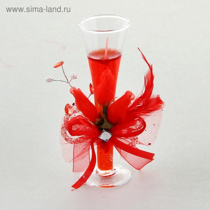 """Свеча гелевая """"Огненный цветок"""", цвет красный"""