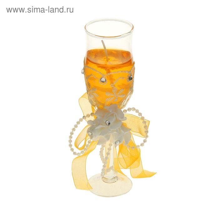 "Свеча гелевая ""Кружево"", цвет оранжевый"