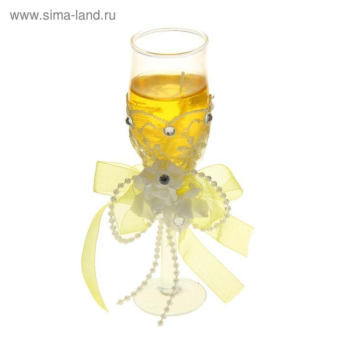 "Свеча гелевая ""Кружево"", цвет желтый"