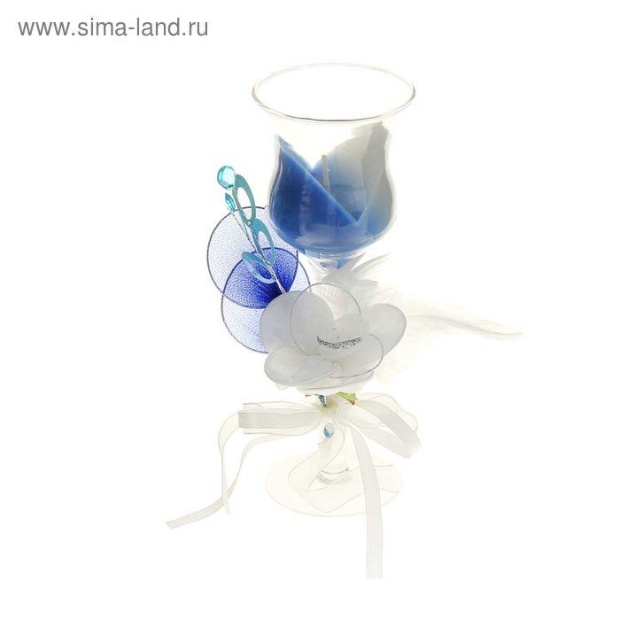 """Свеча восковая """"Двойное сочетание"""", цвет бело-синий"""
