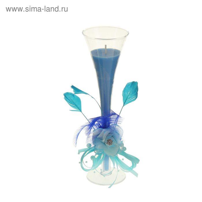 """Свеча восковая """"Роза страсти"""", цвет голубой"""