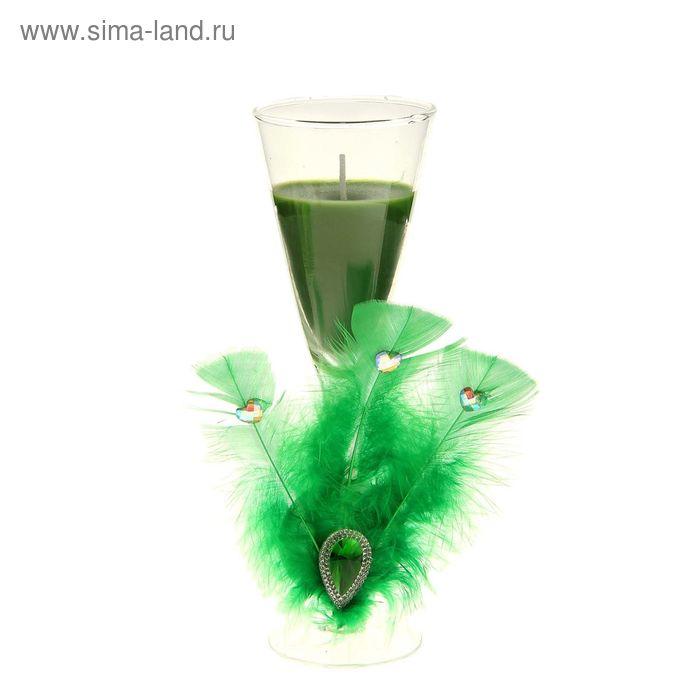 """Свеча восковая """"Перо"""", цвет зеленый"""