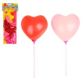 """Шар латексный 9"""" с палочкой, набор 10 сердец + 10 палочек-держателей, цвета МИКС"""