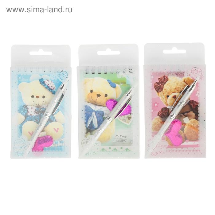 Блокнот А6 30л лин на гребне с ручкой в пластиковой коробочке Мишка МИКС