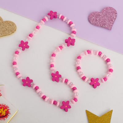 """Набор детский """"Выбражулька"""" 2 предмета: бусы, браслет, цветочки, цвет розовый"""