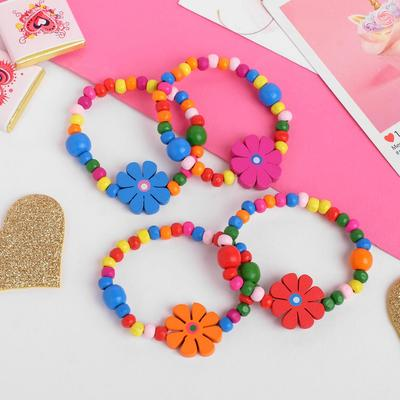 "A set of children's bracelets ""Vibracula"" flowers with beads, 2 strands, MIX color"