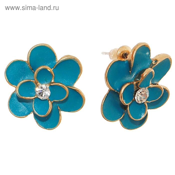 """Серьги """"Цветок"""" незабудка, цвет голубой в золоте"""