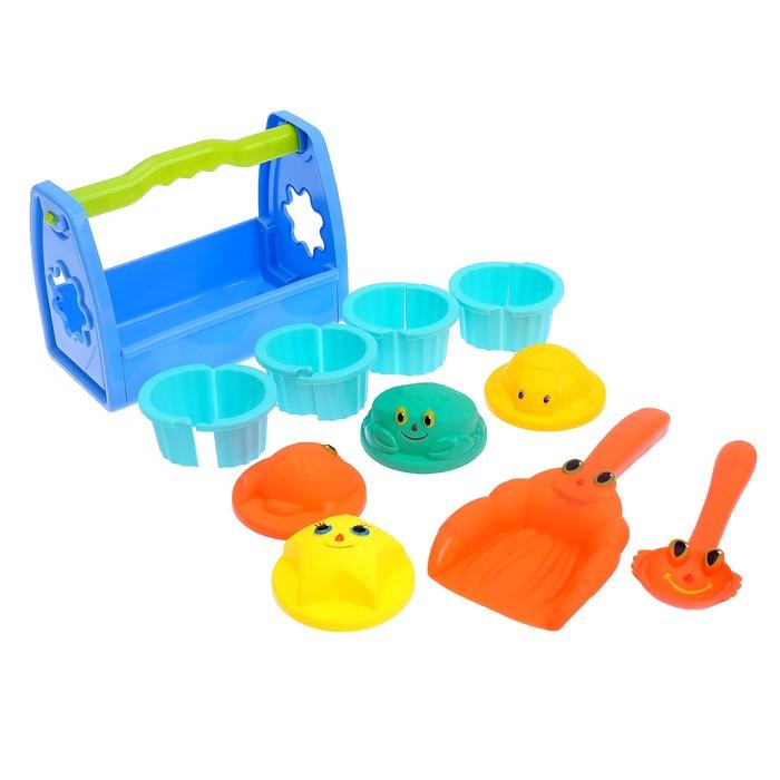 """Песочный набор """"Глазастики"""" 11 предметов: переноска, формочки 8 шт, совок, лопатка"""