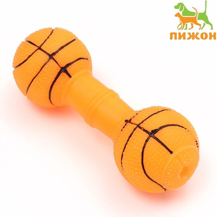 """Игрушка резиновая """"Баскетбольная гантель"""", 15,5 х 6 см, микс цветов"""
