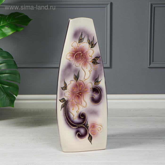 """Ваза напольная """"Скала"""" цветы, глазурь, фиолетовая"""