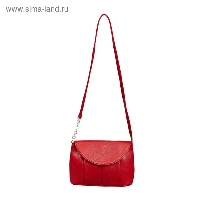 Сумка женская на клапане, 1 отдел, 1 наружный карман, красная