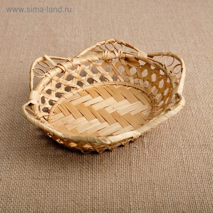 Хлебница, редкое плетение, 19×19×4 см, бамбук