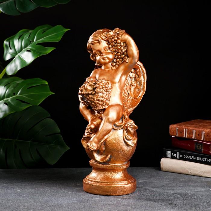 """Фигура """"Ангел с корзиной"""" бронза 19х20х42см - фото 1002772"""