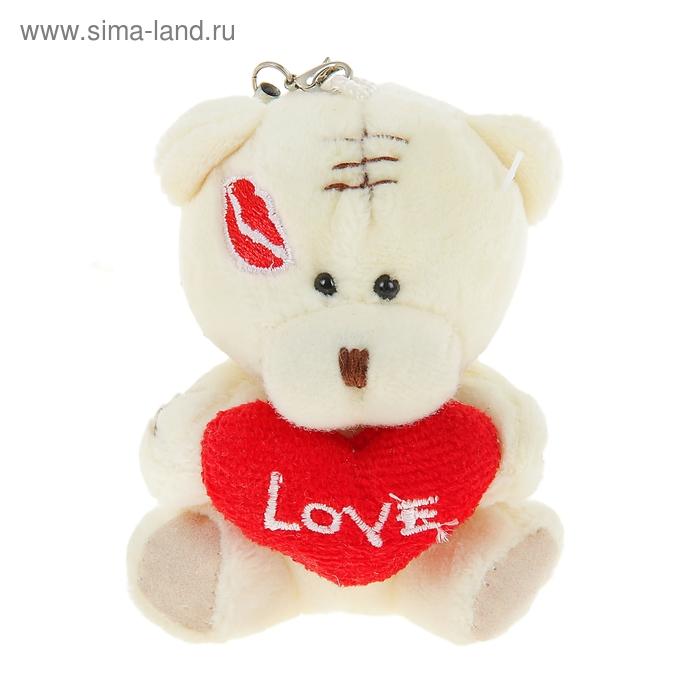 """Мягкая игрушка-подвеска """"Мишка с сердцем"""", на щеке поцелуй"""