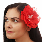"""Гавайский зажим """"Хризантема"""", цвет красный"""