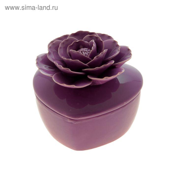 "Шкатулка ""Фиолетовая роза"" в форме сердца"