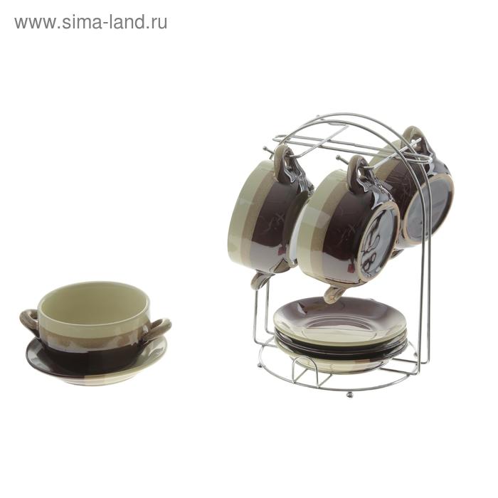 """Набор суповой """"Мия"""", 8 предметов на подставке: 4 пиалы 200 мл, 4 блюдца"""