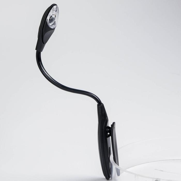 Лампа-прищепка для чтения овальная чёрная, 1 диод