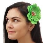 """Гавайский зажим """"Пион, цвет зеленый"""