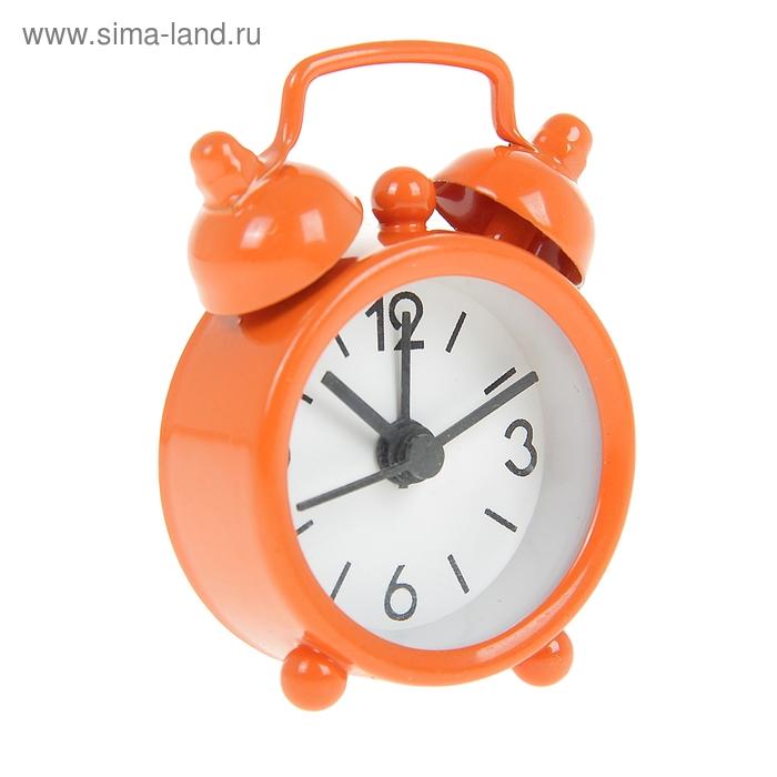 Будильник d=4см, оранж, бел циферблат Цифры крупные 3,6,9,12